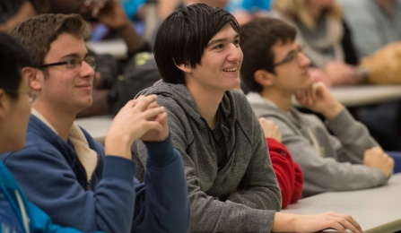 Students get inspired at the UB Hacking 2015 event opener, November 14, 2015. Photo credit: Ken Smith.