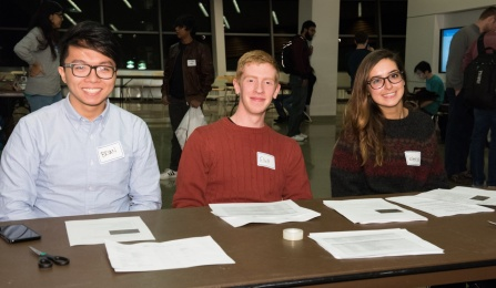 CSEdWeek '15 welcome committee: Brian Francis De Guzman (CS BS '18), Elliott King (CS BS '17), and Valencia Kaplinksy (CS BS '18). Photo credit: Ken Smith.