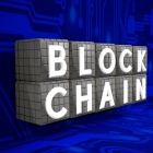 Blockchain on technology background.