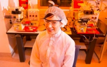 Anna Smith, Goldwater Scholar, in Davis clean room.