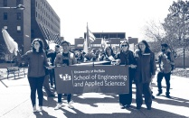 SEAS Students, faculty and staff marching in a UB Pride Parade.
