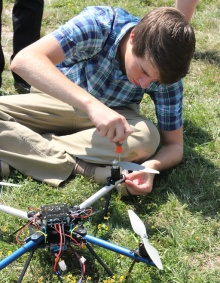 Student working on a drone.