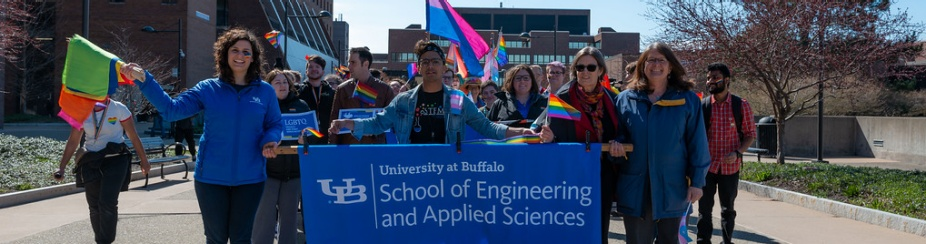 SEAS Students, faculty and staff marching in the UB Pride Parade.
