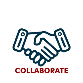 graphic of two hands shaking with the word collaborate