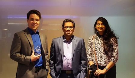 photo of UB REU student Zachary Shepard, Assistant Professor Nirupam Aich and UB CSEE student Tashifa Mohona