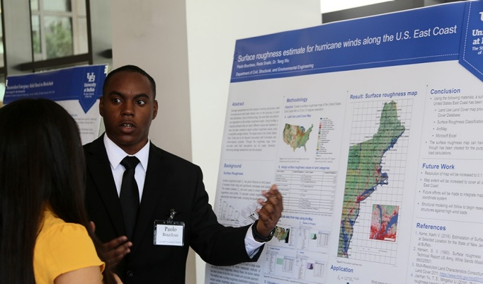 University at Buffalo Department of Civil, Structural and Environmental Engineering undergraduate student presents at LSAMP poster symposium.