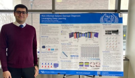 PhD student Seyed Omid Sajedi stands in front of his poster at the spring 2020 CSEE poster competition.