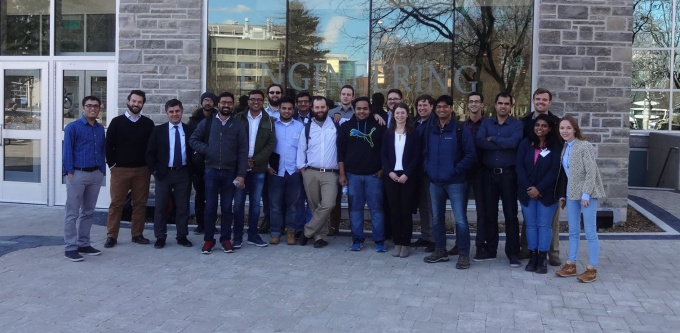 EERI Student Chapters of University at Buffalo and McMaster University in front of John Hodgins Engineering Building at McMaster University.