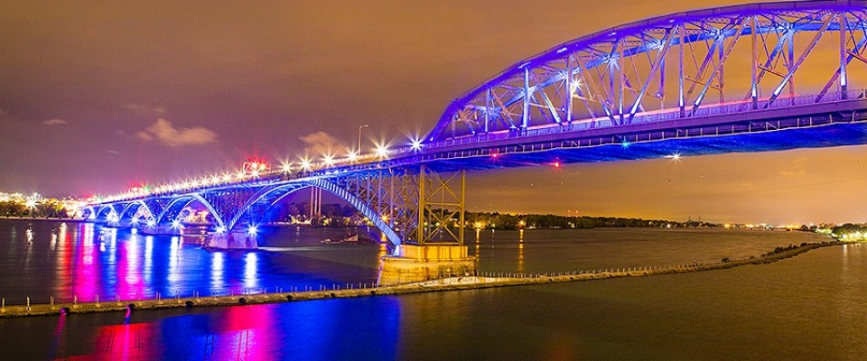Peace Bridge lit up in UB colors (Blue).
