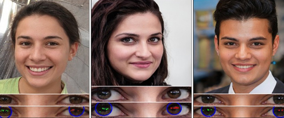Three computer-generated images of faces. Below each face is a close-up of the eyes, showing how the reflections do not match. This identifies the image as a fake.