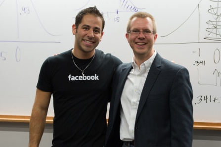 CSE Tech Talks, such as this visit by Facebook, are great opportunities to meet potential internship sponsors in person. Pictured are: Facebook Software Engineer Tom Occhino (CEN BS '07) and CSE Undergraduate Co-Director Carl Alphonce.