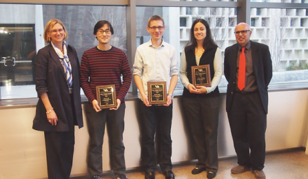 Early Career Teacher of the Year Award. From left, Liesl Folks, Steven Ko, David Salac, Lora Cavuoto and Rajan Batta. Missing from the photo is Geoff Challen.