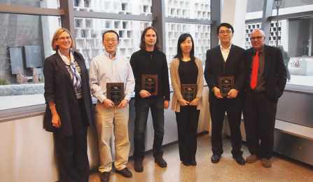 Early career researcher of the year award: from left, Liesl Folks, Haiqing Lin, Dimitrios Koutsonikolas, Jing Gao, Qiaoqiang Gan, and Rajan Batta. Missing from photo is Jonathan Lovell.