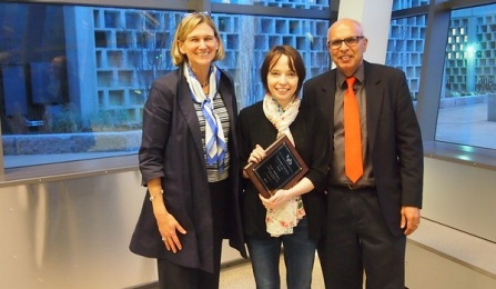 Senior Researcher of the Year Award. Natalia Litchinitser (center) with Liesl Folks and Rajan Batta.