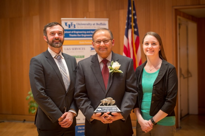 UB's Engineering Alumni Association named Ashish Shah (center) its Engineer of the Year. Shown with Shah are Jordan Walbesser and Courtney Bentley. Photo credit: The Onion Studio