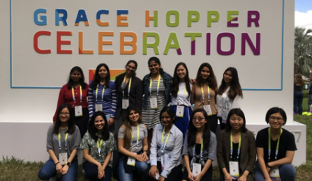 15 female scientists and engineers attended the 2017 Grace Hopper celebration of women in computer science in October of 2017.