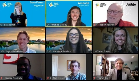 Screenshot of students and judges at the virtual Solar Power Southeast Conference.