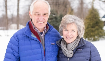 Scott and Coleen Stevens outside in the winter.