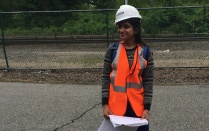 Ronita Bose in construction gear out in the field.