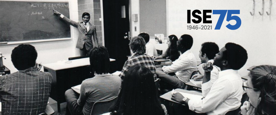 Photo of ISE classroom in 1979 superimposed with 75th anniversary logo.