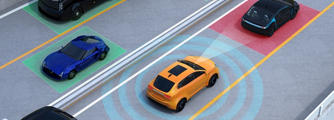 concept illustration for auto braking, lane keeping functions in cars.