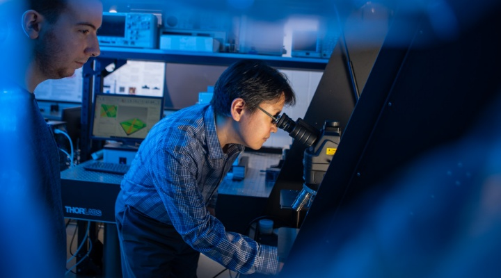 photo of researching working in UB's Materials Characterization Lab.