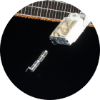 photo of satellite in space.