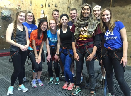 SWE women at a 2015 rock climbing event.