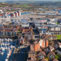 aerial view of Swansea, Wales.