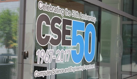 Sign with logo saying 50 years of computer science at UB.