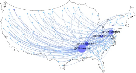 Map of USA showing where a Twitter rumor spreads.