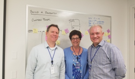From left, TCIE's Operational Excellence Director Peter Baumgartner with continuous improvement instructors from Stony Brook University, Teresa Goodfellow and Certified Six Sigma Black Belt Robert Kalbach.