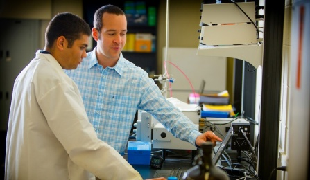 UB researcher Jonathan Lovell (right) and PhD student Kevin Carter are among the co-founders of Pop Biotechnologies. Credit: Douglas Levere, University at Buffalo.