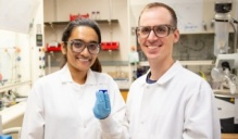 UB chemists Anjula Kosswattaarachchi and Timothy Cook. Credit: Meredith Forrest Kulwicki/University at Buffalo