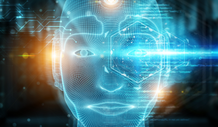 AI illustration of a head of a human lit up by laser lights.