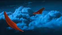 An illustration showing stingray-like spacecraft flying through dark cloud formations.