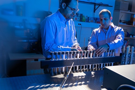 Mostafa Nouh (right) in his lab studying acoustic waves.