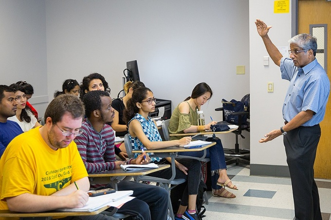 Krishna Rajan, a professor in the new Dept. of Materials, Design and Innovation, teaching in Talbert Hall.