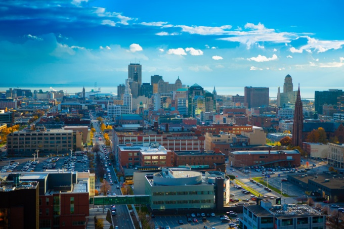 Photo of the Buffalo skyline.